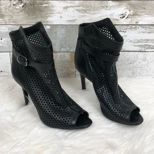 Schutz Caged Perforated Black Leather Heels